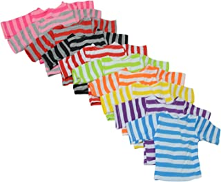 Set of 10 Long Sleeve Striped Color T-Shirts for 18 Inch Dolls - Variety of 10 Colors