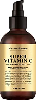 New York Biology Vitamin C Serum for Face and Eye Area - Highest Professional Grade with L Ascorbic Acid - 5X Powerful Anti Aging Serum for Age Spots, Dark Circles, Fine Lines and Wrinkles - 1 oz