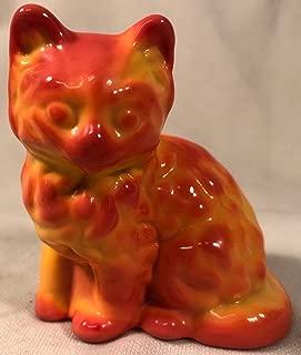 Fluffy Solid Glass Sitting Cat - Mosser USA (Sunset Slag)
