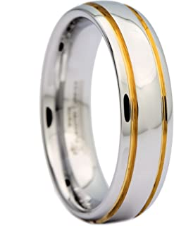 White Tungsten Carbide Polished 2 Gold Stripes Wedding Band 6mm Ring