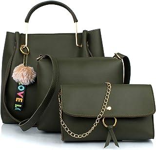 Mammon Women's Stylish Handbags Combo(3LR-bib-Green-Tie)
