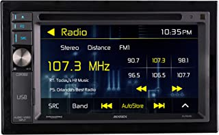 JENSEN CDR362 Double DIN Car Stereo Receiver with 6.2-inch LED Backlit LCD Multimedia Touch Screen Built-In Bluetooth/CD & DVD Player/MP3/SiriusXM-Ready/USB