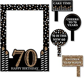 Big Dot of Happiness Adult 70th Birthday - Gold - Birthday Party Selfie Photo Booth Picture Frame & Props - Printed on Sturdy Material