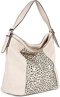 styleBREAKER Damen Hobo Bag Handtasche aus Kunstleder mit Nieten Applikation, Shopper, Schultertasche, Tasche 02012358