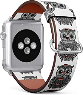 (Zentangle Stylized Black Owl) Patterned Leather Wristband Strap for Apple Watch Series 4/3/2/1 gen,Replacement for iWatch 42mm / 44mm Bands