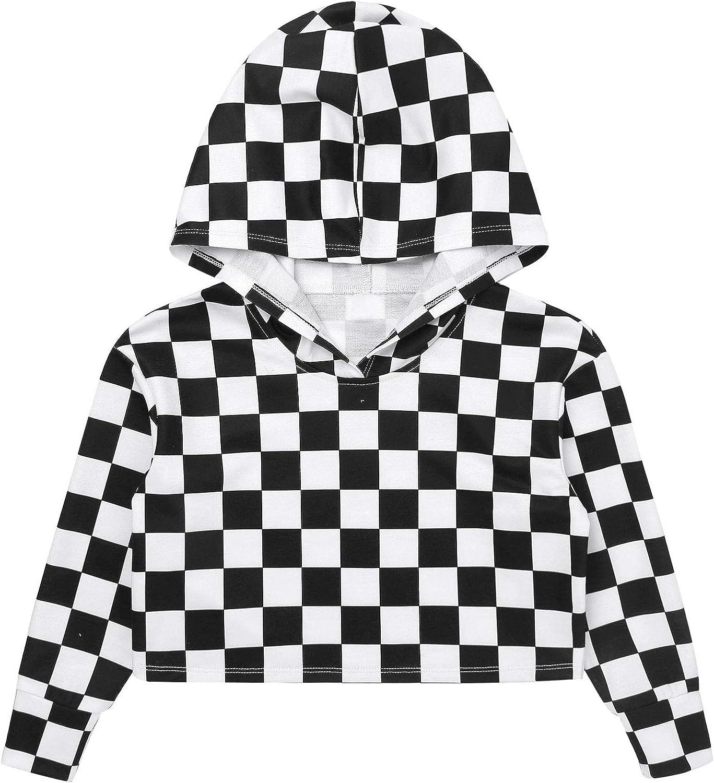 easyforever Girls Hoodie Hooded Long Sleeve Plaid Print Crop Top Sweatshirt Casual Sport Top