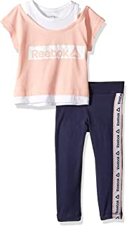 Reebok 锐步 女童 Essentials 2fer 运动上衣和打底裤套装