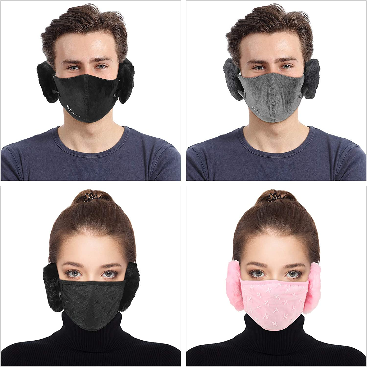 Syhood 4 Pieces Winter Face Covering Bandanas with Ear Warmers for Women Men Outdoor Balaclava Earmuffs