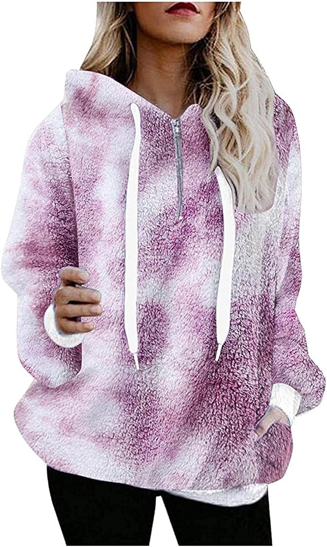 Fleece Hoodie Women Kawaii Color Print Sweatshirt Plush Warm Comfy Outwear Casual Oversized Fuzzy Pullover