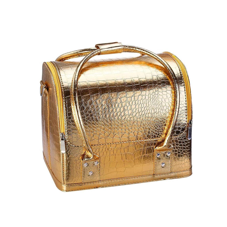 ペインリップデータトラベルポーチ化粧ポーチ プロの旅行美容化粧品メイクアップバッグ美容メイクアップケースネイル化粧品ボックスバッグバニティケースオーガナイザー 旅行用化粧品ケース (色 : Golden)