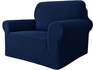 MAXIJIN Funda elástica para Silla para Sala de Estar, 1 Pieza Funda para Silla con Brazos Jacquard Protector para Silla Sofá Funda para sillón (1 Plaza, Azul Marino)