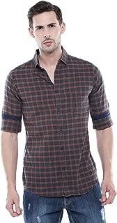 Dennis Lingo Men's Checkered Khaki Slim Fit Casual Shirt
