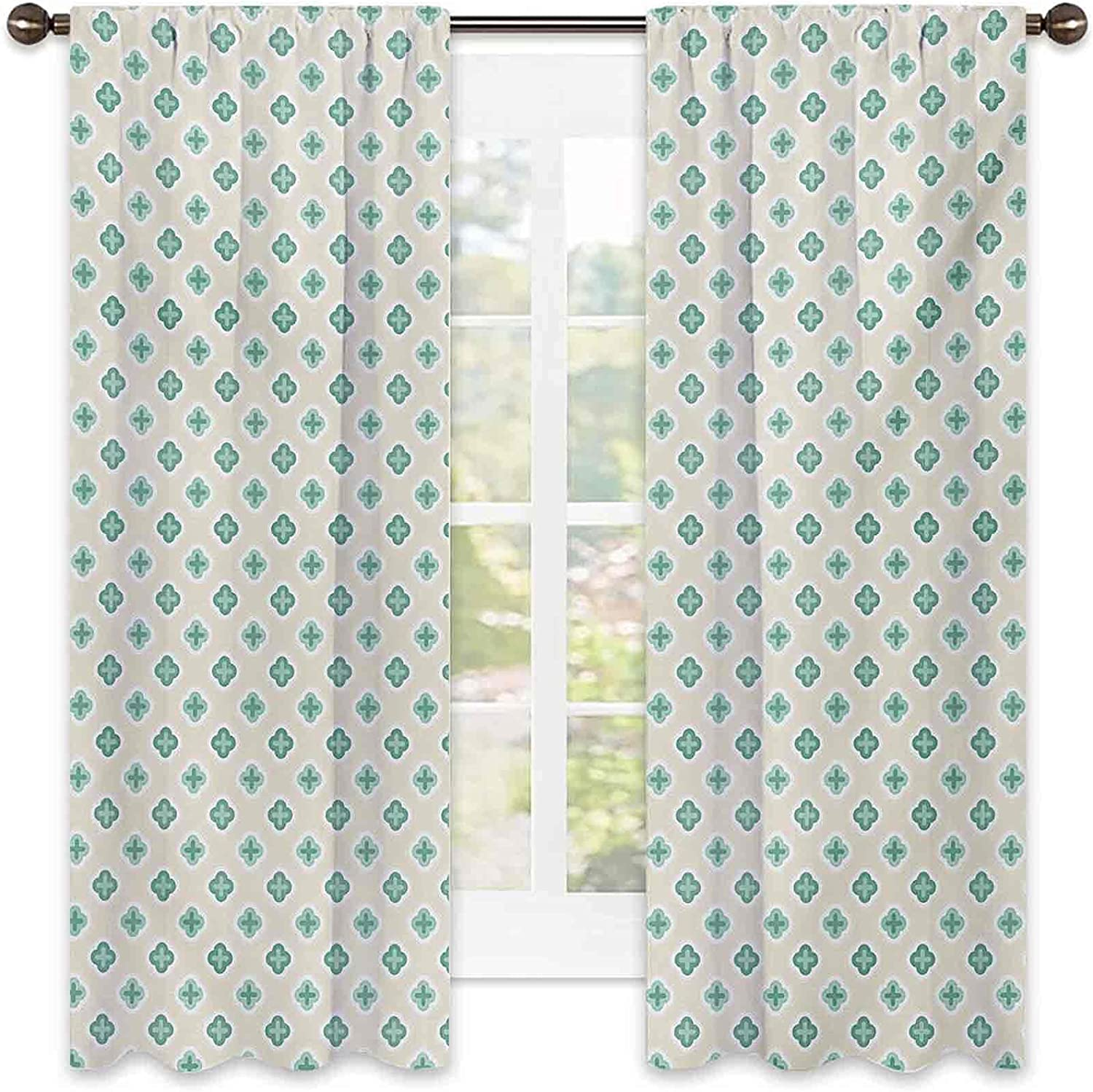 90% Blackout Turquoise Curtains Mail order Retro Abstract Ge Cross Pattern Ranking TOP13