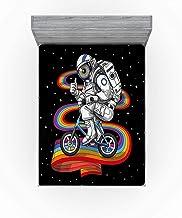 Astronaut Rijden op de Regenboog Hoeslaken Space Art Zacht Decoratief Stof Beddengoed met allround Elastische Diepe Zak vo...