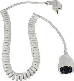 as – Schwabe Schutzkontakt-Spiralleitung – von 1 m auf 2,5 m dehnbares Spiral-Kabel mit Schutzkontaktwickelstecker & Schutzkontaktkupplung – 230 V / 16 A Verlängerungskabel – IP20 – weiß I 70412
