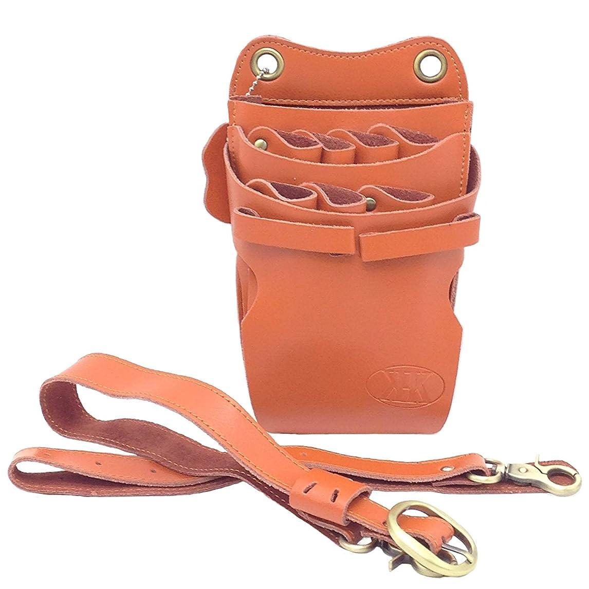 ロゴトースト持続的KK(三四郎市場) 本革 シザーケース 業務用シザーバッグ 7丁 (本革ベルト、オレンジ)