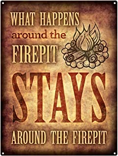 """Homebody Accents What Happens Around The Firepit 12""""x16"""" Metal Sign, Patio, Porch, Deck"""