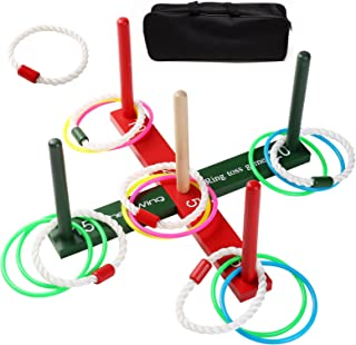 Cheerwing Wooden Ring Toss Kids Adults Games Improve Eye-Hand Coordination and Fine Motor Skills - with Carrying Case, Plus 10 Plastic Rings