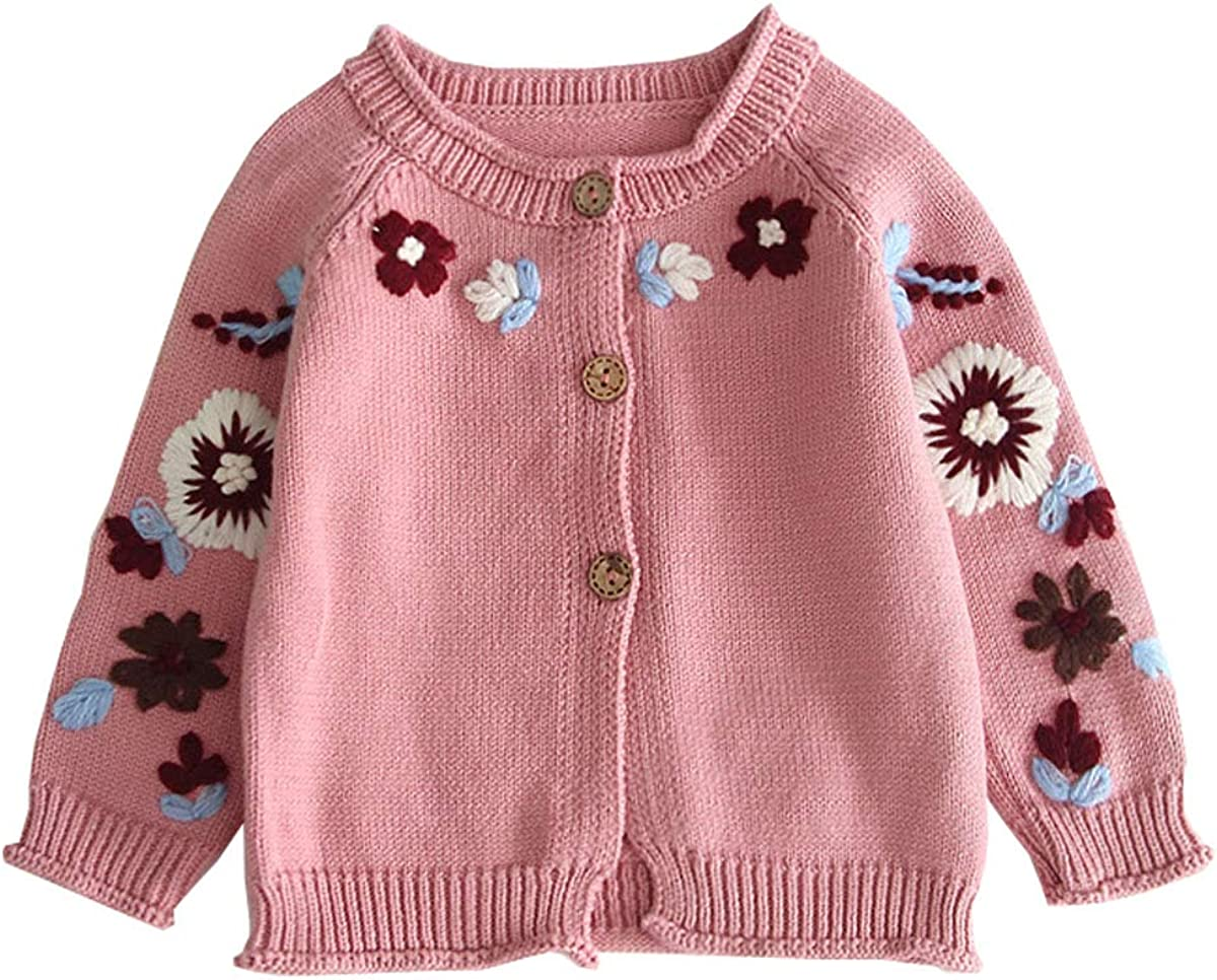 XueXian Baby Toddler Girl's Hibiscus Flower Knit Button Down Cardigan Sweater