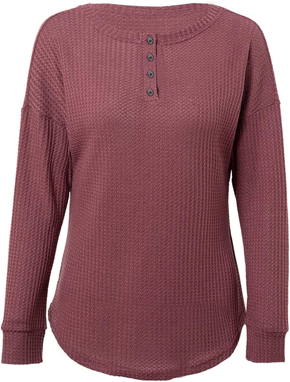 Womens Waffle Knit Tops Comfy Houston Mall Henley Loose Long Bl Sleeve Free shipping anywhere in the nation Shirts