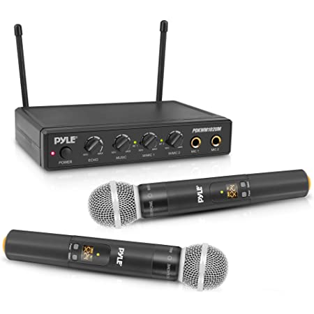 Pyle Wireless Karaoke Microphone System - Portable Audio Sound Mixer Receiver Set w/Dual Mic Setting, Two Handheld Mics, 3.5mm AUX & RCA Cord - for DJ Sound, Home Party, & Theater - PDKWM102UM