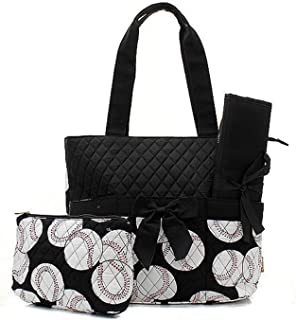 Quilted Diaper Bag 3-Piece Set, Baseball Black Trim By Quilted