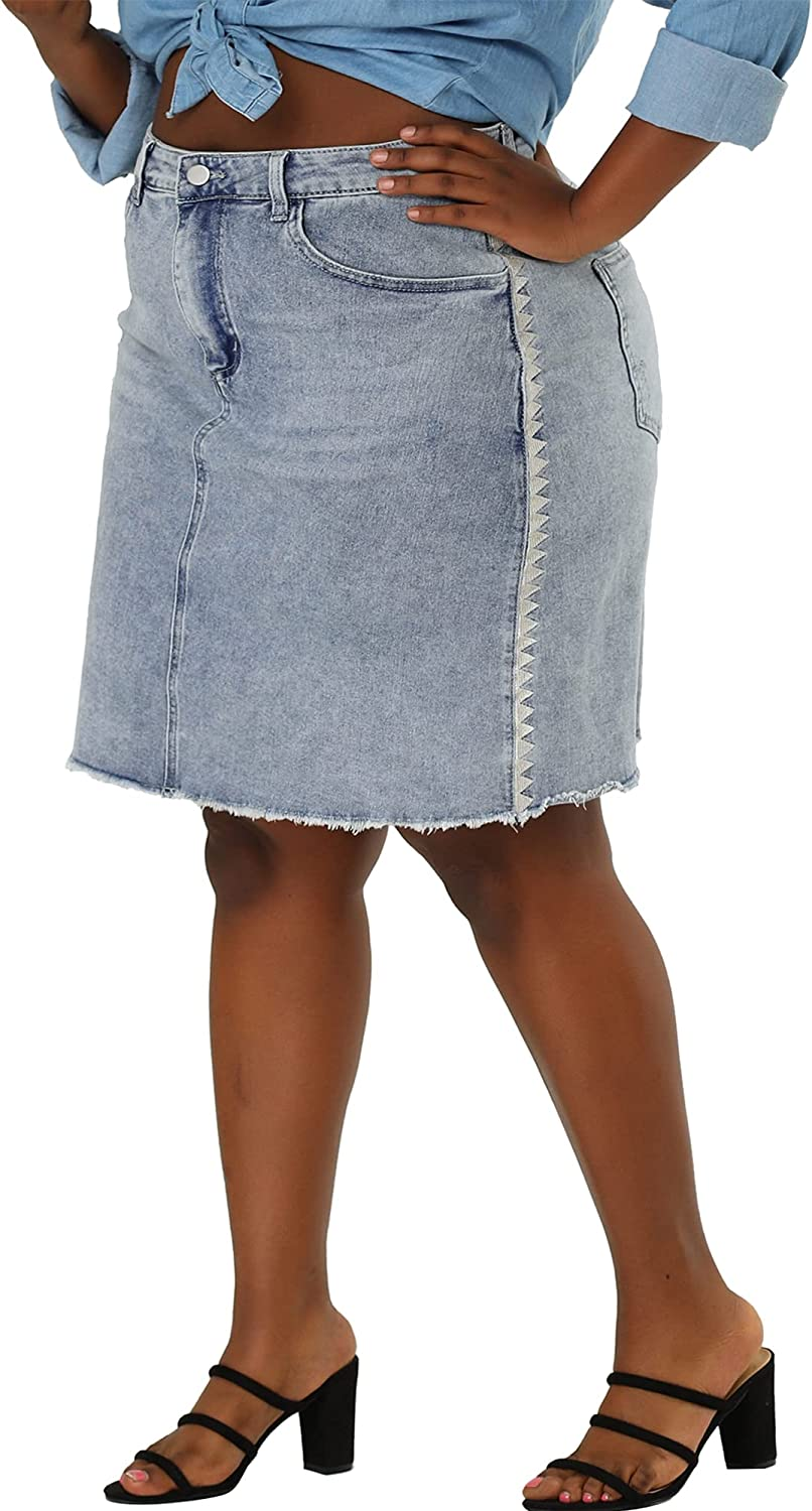 Agnes Orinda Plus Beauty products Size Denim Embroidere Chambray Women Skirt for Recommended