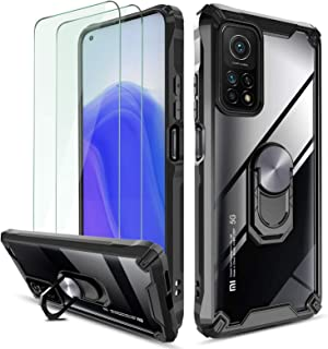 QHOHQ Case for Xiaomi Mi 10T/10T Pro 5G with 2 Pack Screen Protector, [Patented Design] [360° Rotating Stand] [Military Gr...