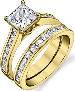 Gold Tone Over Solid Sterling Silver Princess Cut Bridal Set Engagement Wedding Ring Bands With Cubic Zirconia