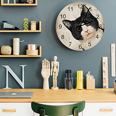 Wall Clock Silent Non Ticking - Japanese Cat Retro Newspaper 12 Inch Quality Quartz Battery Operated Round Wall Clock Easy to