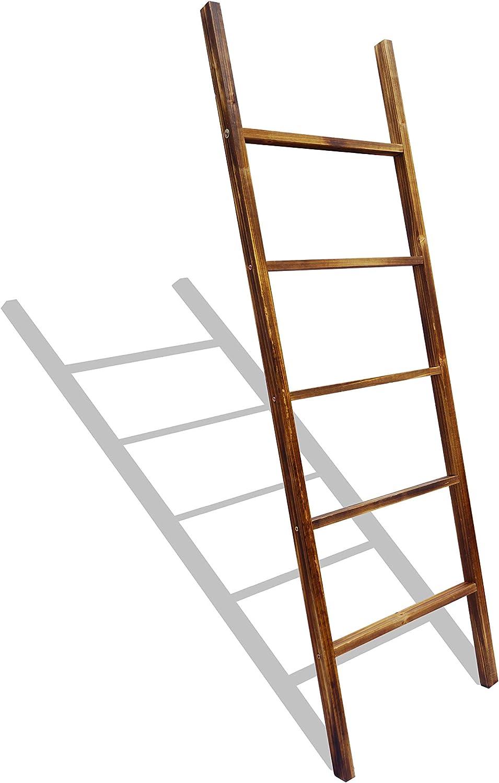 Allmark Wood Blanket Ladder - Wall-Leaning 5 Foot Decorative Ladder for Blankets - Rustic Farmhouse Wooden Ladder Decor Shelf for Living Room Bedroom or Standing Bathroom Towel Rack Holder (60