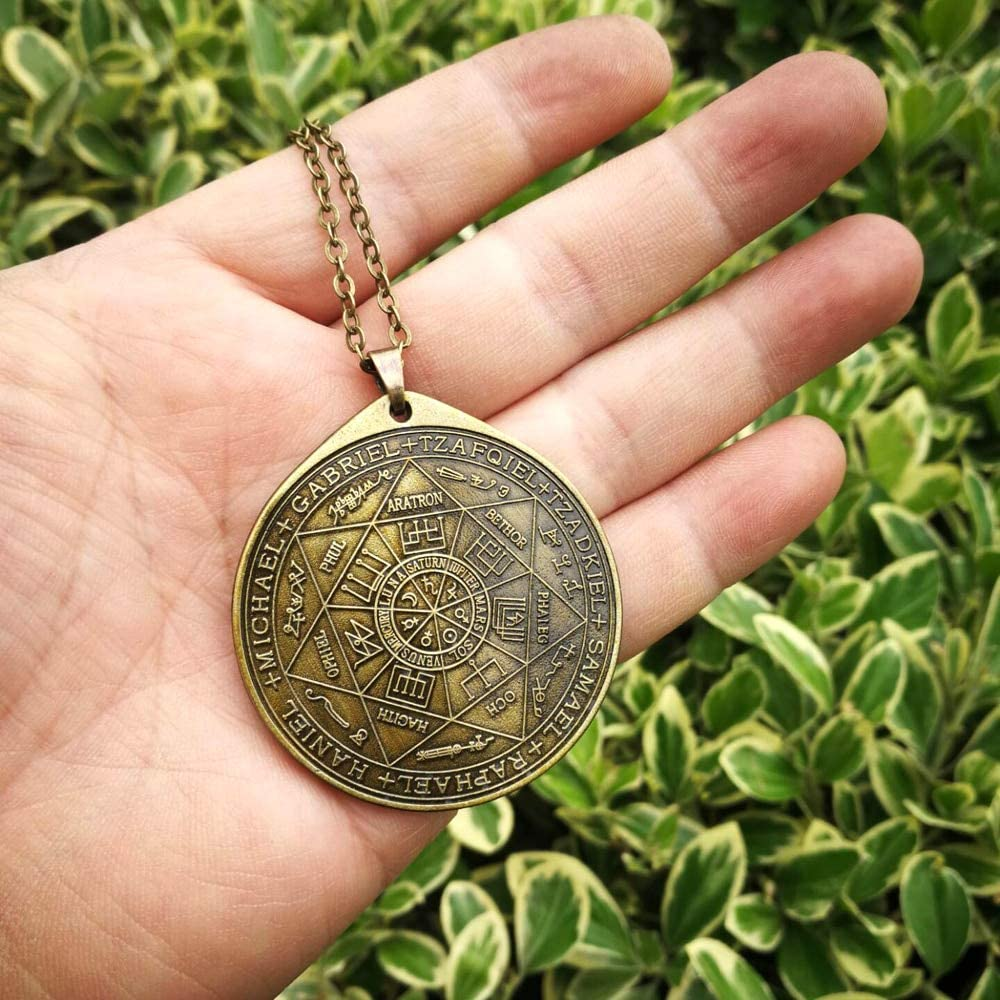 Davitu Pendant Necklaces - New Styles The Seal of The Seven Archangels by Asterion Seal Solomon Kabbalah Amulet Pendant Necklace - (Length: 50cm)