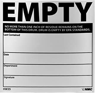 """National Marker HW35ALV NMC Labels, """"Empty - NO More Than ONE"""