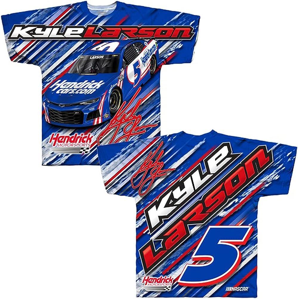 Checkered Flag Kyle Larson 2021 HendrickCars Sublimated Total Print T-Shirt Blue