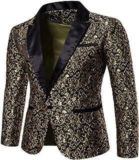 Loeay Men's Casual Blazer Luxury Men Suit Tuxedo Blazer Slim Fit Suit Unique Mens Blazers Dress Jackets Wedding Party Show...