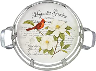 Department 56 Magnolia Garden Flowers and Cardinals Decorative Tray, 4.5 Inch, Multicolor