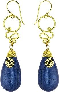 Brass Tribal Boho Reconstructed Dyed Navy Blue Howlite Teardrop Swirl Fish Hook Earrings