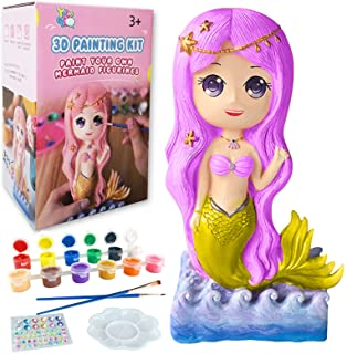 Yileqi Paint Your Own Mermaid Painting Kit, Mermaid Toys Paint Mermaid Crafts and Arts Set for Girls Ages 4 5 6 7 8 9 10 Y...