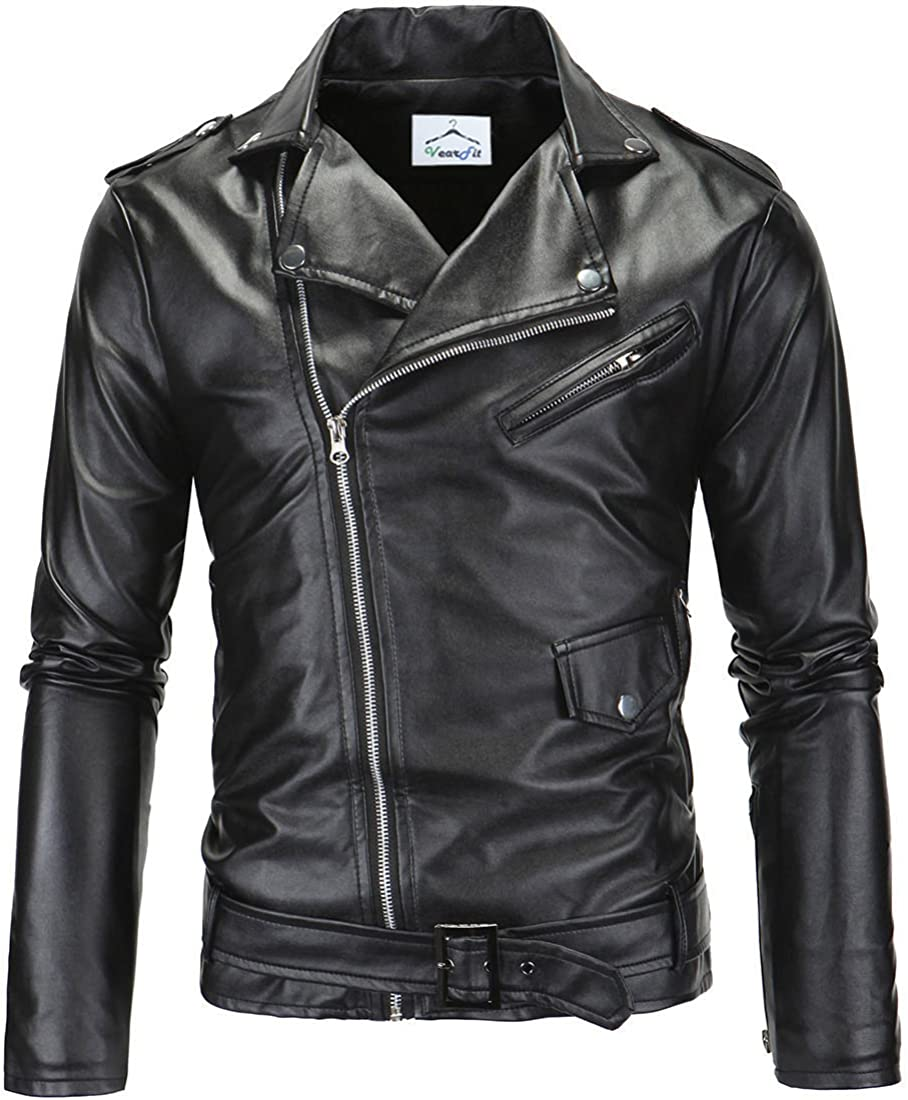 VearFit Honded Black Biker Moto Faux Leather Men Year-end annual account Styl 55% OFF for Jacket