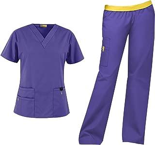Origins Women's Scrub Set Bundle- 6016 Bravo Top & 5016 Quebec Cargo Pant & Marc Stevens Badge Reel
