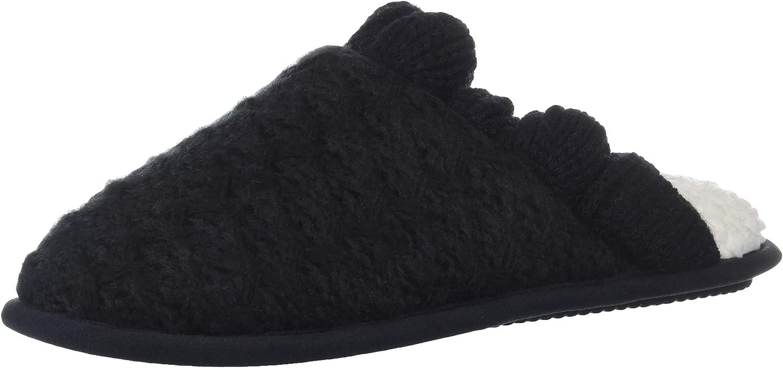 Nine West Women's Textured Knit Closed Toe Scuff with Ruffle Slipper Black-2 S Regular US