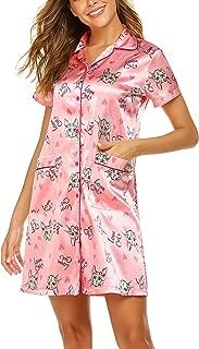 Women's Short Sleeve Nightgown Loose Fit Sleepshirt Round Neck Nightshirt Comfy Sleepwear