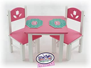Matty's Toy Stop 18 Inch Doll Furniture Pink/White Wooden Table and Chairs Set with Placemats (Floral Design) - Fits American Girl Dolls
