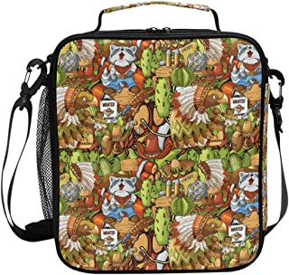 ADONINELP Lunch Bag Square Seamless Pattern Hand Drawn Wild West 3D Printed Picnic Bag Insulated Cooler Tote Box Meal Holder Containers Lunchbox Case
