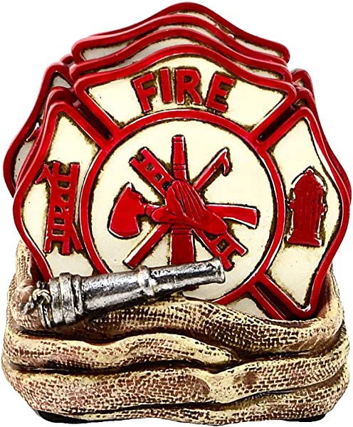 Coiled Fire Department Hose Table Coasters Firefighter Rescue Gear Decor