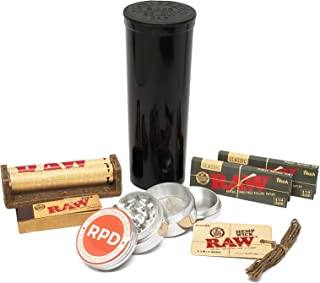 Bundle - 7 Items - RAW Black Rolling Paper, Tips, Roller and Hemp Wick with Grinder and Storage Container