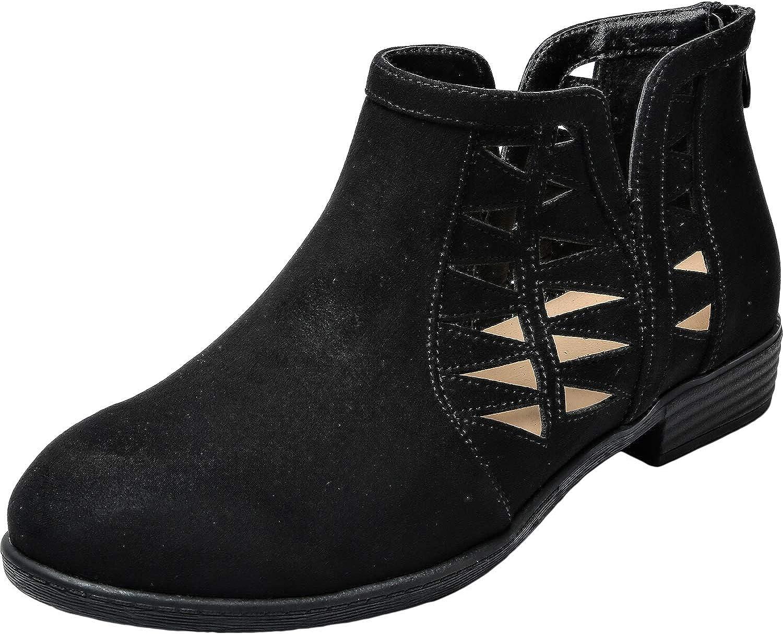 Aukusor Women's Wide Width Ankle Booties - Low Heel Slip On Back Zipper Cozy Spring Short Boots.