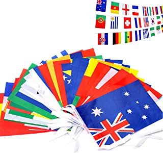 Winuper International Flags, Russia 2018 FIFA World Cup Flag Banner 32 PCS Countries String Flags Bunting 36 Feet 8'' x 12'' for Bar Home Party Decorations