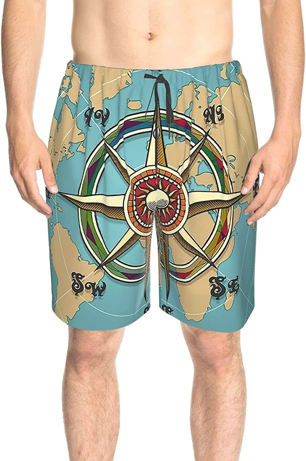 Mens Swim Trunks Compass and World Map Swim Boardshorts Drawstring Elastic Surfing Board Shorts with Pockets