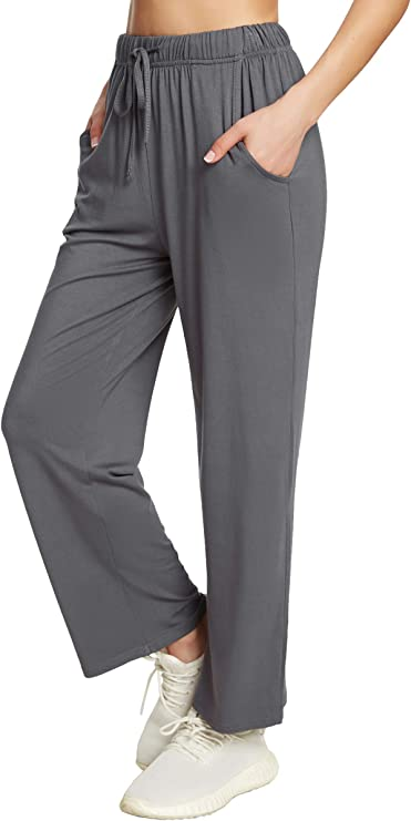 ADANIKI Womens Straight-Leg Yoga Pants with Pockets Sweatpants Comfy Drawstring Joggers Lounge Pants for Women